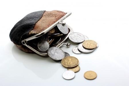 Старый кошелек с монетами