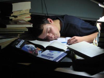 Спящий школьник
