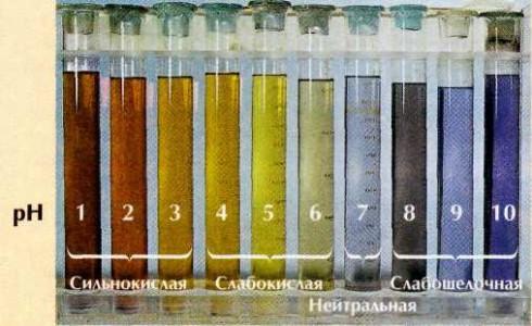 Окраска универсального индикатора при разных значениях рН